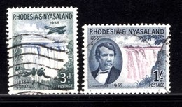 NYASSALAND, 1955, Cancelled Stamp(s), Victoria Falls Discovery, Mich 17-18, #nr. 504 - Rhodesia & Nyasaland (1954-1963)