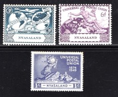 NYASSALAND, 1949, Mint Hinged Stamps , MI 89-92, U.P.U. ,   Scan #541, 3 Values Only - Nyasaland (1907-1953)