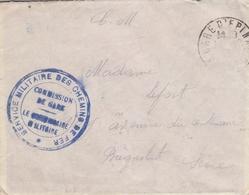 LSC 1916 - Cachet SERVICE MILITAIRE DES CHEMINS DE FER - Commission De Gare - Bahnpost