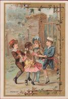 Old Chromo (Liebig Style) Litho Lithographie Kinderen Enfants Children Playing Danse Traditionnelle Ou Enfantin - Autres