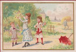 Old Chromo (Liebig Style) Litho Lithographie Kinderen Enfants Children Playing Paraplui Paraplu Umbrella - Autres