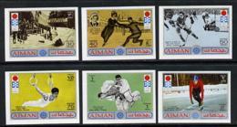 Ajman 1971 Sapporo Winter Olympics JUDO SKATING BOBSLED GYMNASTICS ICE HOCKEY MARTIAL ARTS Imperf Set Of 6 U/m, Mi 762-6 - Ajman