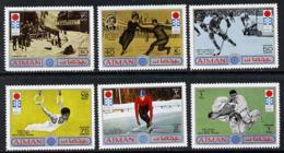 Ajman 1971 Sapporo Winter Olympics JUDO SKATING BOBSLED GYMNASTICS ICE HOCKEY MARTIAL ARTS Perf Set Of 6 U/m, Mi 762-67 - Ajman