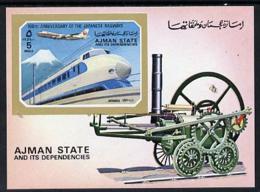 Ajman 1972 Locomotives (with Jumbo 747) Imperf M/sheet (Mi BL 402) U/m - Ajman