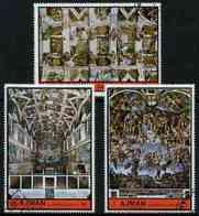 Ajman 1972 The Sistine Chapel By Michelangelo ARTS CHURCHES RENAISSANCE Perf Set Of 3 Cto Used, Mi 1874-76 - Ajman