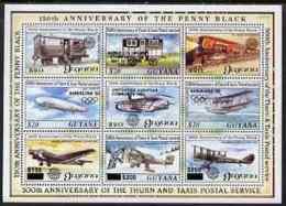 Guyana 1992 Anniversaries POSTAL TRANSPORT AVIATION RAILWAYS STAMP EXHIBITIONS ZEPPELINS AIRSHIPS FLYING BOATS OLYMPICS - Guyana (1966-...)