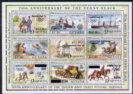 Guyana 1992 Annivs Opt In Black OLYMPICS POSTAL TRANSPORT EUROPA MAIL COACHES POSTMAN POSTBOX SHIPS HORSES BALLOONS PADD - Guyana (1966-...)
