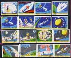 Haiti 1970 Apollo 12 Moon Mission Imperf Set Of 16 Fine Cto Used From Limited Printing SPACE APOLLO - Haiti
