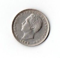 L-147  PORTUGAL=1888   SILVER   100  REIS   Aunc - Portugal