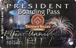 Thunder Valley Casino Lincoln CA - 1st Year Anniversary President Boarding Pass Slot Card - Casino Cards