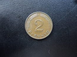 RÉPUBLIQUE FÉDÉRALE ALLEMANDE : 2 PFENNIG   1961 D    KM 106     SUP 55 - [ 7] 1949-… : FRG - Fed. Rep. Germany