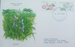 L) 1984 GRENADA, FLOWERS, NATURE, CIRCULATED COVER FROM GRENADA TO USA, FDC - Grenada (1974-...)