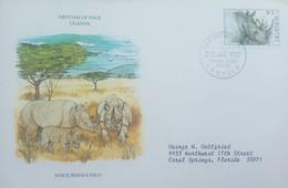 L) 1987 UGANDA, ANIMALS, WHITE RHINOCEROS, FAUNA, 25C, NATURE, CIRCULATED COVER FROM UGANDA TO USA, FDC - Uganda (1962-...)