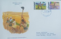 L) 1986 LESOTHO, 20TH ANNIVERSARY OF INDEPENDENCE, HOSER, PEOPLE, WORKERS, FARMING, CIRCULATED COVER FROM LESOTHO TO USA - Lesotho (1966-...)