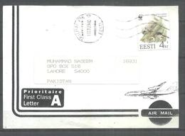 USED AIR MAIL FRONT PAPER ESTONIA WWF STAMP ON PAGE - Estonia