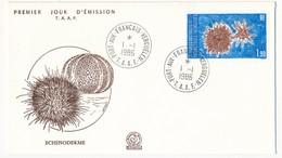 TAAF - Enveloppe FDC - Echinoderme - Port Aux Français Kerguelen - 1.1.1986 - FDC