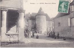 BERG-  AYEN  EN CORREZE PLACE DE LA MAIRIE  CPA  ANIMEE CIRCULEE - France