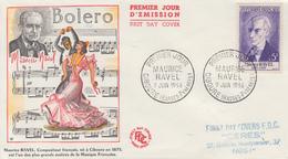 Enveloppe  FDC  1er  Jour   FRANCE    Maurice  RAVEL   CIBOURE   1956 - FDC