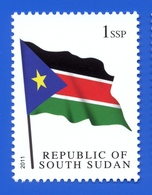SOUTH SUDAN 1 SSP National Flag Stamp, 1st Set 2011 Südsudan Soudan Du Sud - South Sudan