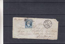 France - Devant De Lettre De 1854 - Oblit Paris - Exp Vers Dunkerque - 1853-1860 Napoléon III.