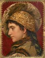 Ancienne Chromo Grand Format, Cadre Doré Et Gaufré, Profil De Femme Antique - Chromos