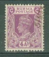 Burma: 1946   British Civil Administration - KGVI   SG58    4a   Used - Burma (...-1947)
