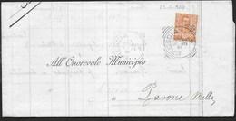 STORIA POSTALE REGNO - ANNULLO TONDO RIQUADRATO BRESCIA 22.05.1903 SU PIEGO PER PAVONE MELLA - 1900-44 Vittorio Emanuele III