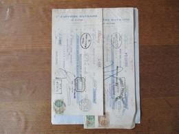 LE HAVRE Cie CAFEIERE HAVRAISE 15 RUE DU BASTION FACTURE,NOTE DE DEBIT ET TRAITES DU 27 JANVIER 1928 TIMBRES FISCAUX - France