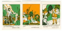 3 CHROMOS LYON AU GLOBE MOTS HISTORIQUES CAMBRONNE JEANNE D'ARC  LOUIS XIV - Other