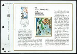 """Y/T N° 1704 Sur 1 FDC Gd Format """"soie""""- Oblit. 1 Ier Jour """"PARIS - 20/1/72"""" - Découverte Des Îles Crozet Et Kerguelen - FDC"""