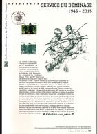 2015, DOCUMENT OFFICIEL DE LA POSTE: Service De Deminage, 1945 2015 - Documents Of Postal Services