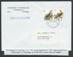 Brief Met Heruitgegeven Waarden Buzin 4F En 7F - 1985-.. Birds (Buzin)