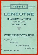 Calendrier 1964 LENEUTRE Voitures D'Occasion 37 CHAMBRAY-Les-TOURS * Métier Automobile - Calendars