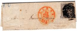 Lettre Avec Correspondance Liège 1853 Pour Vervier Belgique Timbre Léopold Ier Médaillon Dix Centimes - Belgium