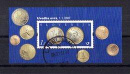 SLOVENIE Bloc 16 Illustration Pièces De Monnaie  Oblitération D'époque Bien Centrée Et Bien Lisible - Slovénie