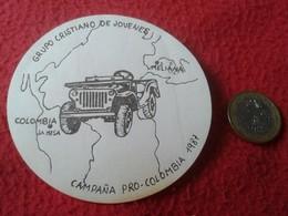 SPAIN PEGATINA ADHESIVO STICKER SOLIDARIA MOVIMIENTO RELIGIOSO GRUPO CRISTIANO DE JÓVENES CAMPAÑA PRO COLOMBIA CHRISTIAN - Stickers