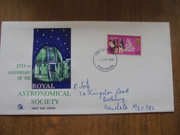 S021: FDC:ROYAL ASTRONOMICAL SOCIETY. 150th Anniversary - 1820.  1/9d Stamp. -1 APR 1970. Manchester. - FDC