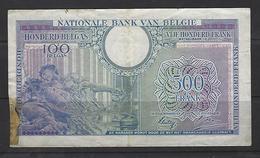 500 Frank - Francs = 100 Belgas  - Type Londen  M 81 - Zeer Fraaie Tot Mooie Staat - Stukje Weg Links - [ 2] 1831-... : Royaume De Belgique
