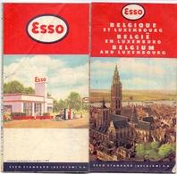Brochure Map Carte Toerisme Tourisme - Carte Kaart België & Luxemburg - Belgique - Pub Reclame Esso - Cartes
