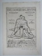 "Ex-libris Illustré Italie XXème - GIORGIO BALBI Par Alberto Helios GAGLIARDO -""SI JE T'AI J'AI TOUT"" - Rare Double Face - Ex-libris"