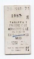 Pappfahrkarte (Italien): Tariffa 1 - Palermo - Agrigento - Chemins De Fer