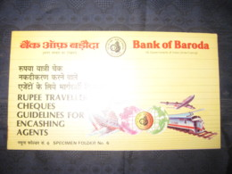 India Rs. 100 Bank Of Baroda Traveller's Cheque SPECIMEN # 6855 - Cheques & Traveler's Cheques