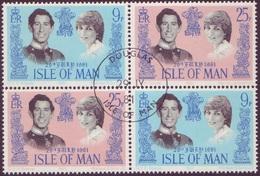 Isle Of Man 1981 Royal Wedding Sets In Se Tenant Block Of 4 - Prince Charles & Princess Diana - Used - Isle Of Man