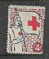S.Africa, Red Cross, 4d Fund Raising Label, Nurse With Banner - Zuid-Afrika (...-1961)