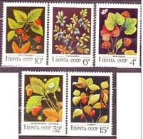 Russia 1982 Sc. 5023/5027 Arbusti Frutta Blackberries Cranberries..... MNH - Frutta