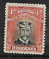 Rhodesia,/ B.S.A.Co.,1913, Admiral, 4d, Die III Perf 14, MH * - Southern Rhodesia (...-1964)