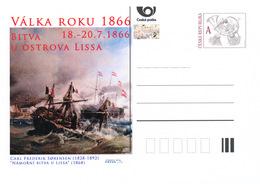 Rep. Ceca / Cart. Postali (Pre2016/29) Guerra Del 1866 (6) Battaglia Dell'isola Lissa - Pittore: Carl Sorensen (1828-92) - Entiers Postaux