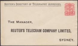 NSW 1898. Enveloppe, Entier Postal Repiqué. Teuter's Telegram Company Limited, Sydney - Annuaire Télégraphique - Cartas