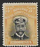 Rhodesia,/ B.S.A.Co.,1913, Admiral, 3d Black & Yellow, Die I Perf 15, MH * - Southern Rhodesia (...-1964)