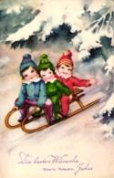 Neujahr, Kinder Mit Schlitten, Sign. Hannes Petersen - Petersen, Hannes